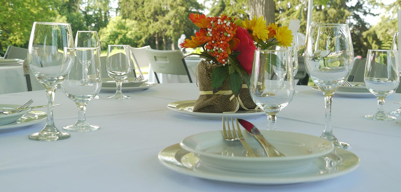table setting for private event at Bathurst Glen